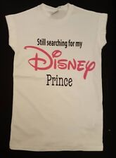 PRIMARK DISNEY PRINCESS STILL SEARCHING FOR MY PRINCE T SHIRT TEE TOP UK 10- 16