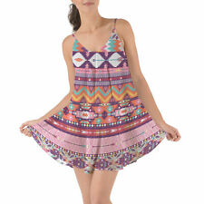 Candy Rainbow Aztec Tribal Geometric Beach Cover Up Dress XS-3XL