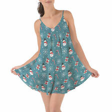 Snowmen and Candy Canes Beach Cover Up Dress XS-3XL