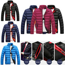 Mens Jackets Zipper Cotton Puffer Slim Fit Warm Padded Coats Outwear Tops Winter