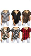 New Women Turn Up Short Sleeve Plain Printed Loose Ladies Baggy V Neck T- shirts
