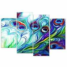 4Pcs Peacock Plumes Oil Painting Picture Canvas Modern Art Wall Decoration
