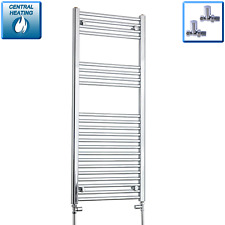 1200 x 500 mm Flat Chrome Heated Towel Rail Radiator Bathroom Central Heating
