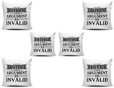 Your Argument Is Invalid Funny Novelty Gift Cushion Cover Variation