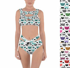 Inky Texture Cats Criss Cross Bandage Bikini Set XS-3XL