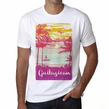 Guitagican Escape to paradise Hombre Camiseta Blanco Regalo 00281