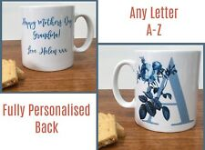 Initial Letter Mug Mother's Day Gift A-Z Botanicals - Personalised - ANY COLOUR