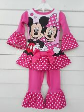 Disney Minnie Mouse Pajama Outfit Handmade Ruffles Toddler Girls NEW