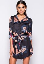 Women Ladies Long Sleeve Floral print Mini Party belted shirt dress 8-14