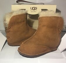 UGG BOO Booties Boot Infant Baby Girl Boy Shearling SUEDE Chestnut 6-12 months S