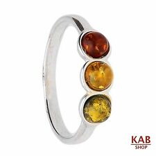 Ambra Baltica Gemma & Argento Sterling 925 Anello. Kab -r16