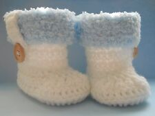 Handmade Crochet / Knit Beautiful Fluffy Top Warm & Cosy Boots / Booties 3 Sizes