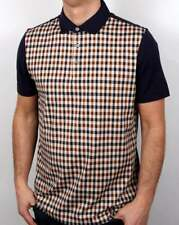 Aquascutum Dillon Club Check Polo Shirt in Vicuna & Navy - short sleeve