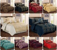 Luxury 7 Piece Jacquard Comforter set, Bedspread with Matching Cushion Covers