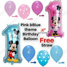 "12"" Polka Dot Balloon 30"" Minnie/Mickey Mouse Foil Number '1' Baloon Pink/Blue"