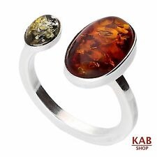 AMBRA BALTICA GEMMA & argento sterling 925 anello. KAB -r44