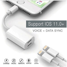 2in1 Dual Connector For Apple Headphone Jack Audio + Charge Cable Adapter Lot AN