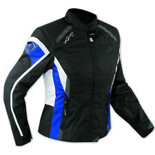 Jacket Textile Ladies Racing Motorcycle Motorbike CE Armored White Blue