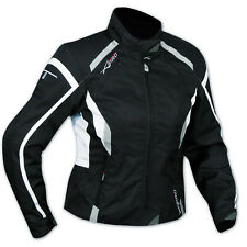 Jacket Textile Ladies Racing Motorcycle Motorbike All Season CE Armored White