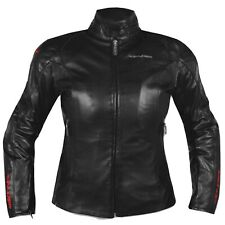 Ladies Leather Jacket Motorcycle Motorbike CE Armored Thermal Liner Black