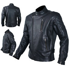 Jacket Leather Mens Motorcycle Vintage CE Protectors Armour CE