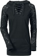 Gothicana by EMP Lace Sleeve Felpa donna nero