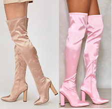 Ladies Womens Pink Nude Thigh Block High Heel Stretch Over The Knee Boots Size
