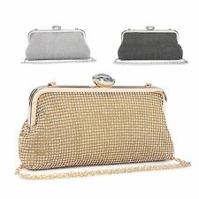 Ladies Diamante Clutch Bag Diamante Clasp Party Bag Handbag Purse ME68007