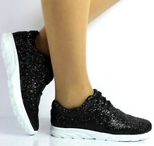 Women's Ladies Black Sports Fashion Sneakers Casual Running Shoes Trainers Size