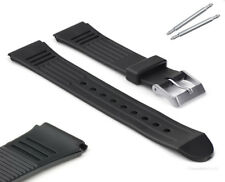 Premium 18mm or 20mm Black Rubber Divers Watch Strap with Three Hollow Gooves