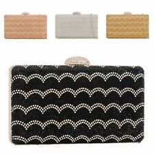 Ladies Diamante Box Clutch Bag Glitter Chips Evening Bag Handbag Purse KY2204