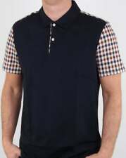 Aquascutum Rutland Vicuna Detail Polo Shirt in Navy Blue - check sleeves