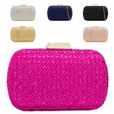 Ladies Diamante Box Clutch Bag Cocktail Party Bag Evening Handbag Purse KH2217