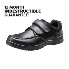 School Shoes Boys Black Leather Touch Fasten 1yr Indestructible Guarantee TREADS