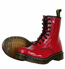 Dr Martens Original 1460 Red Patent Boots with Yellow Stitch 11821606