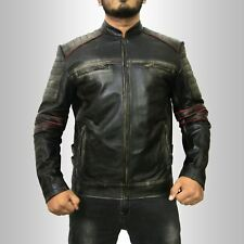 Vintage Cafe Racer Biker Mens Retro 1 Motorcycle Moto Distressed Leather Jacket