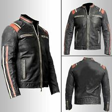Vintage Biker Mens Retro 3 Motorcycle Cafe Racer Moto Distressed Leather Jacket