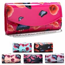 Ladies Butterfly Clutch Bag Poppy Evening Floral Purse Flower Handbag MA35024