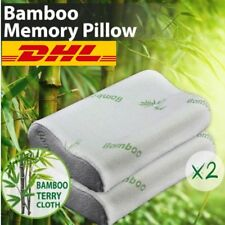 2x Pack Luxury Bamboo Memory Foam Fabric Fibre Cover Contour Pillow 50 x 30cm &Y