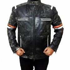 Biker Vintage Mens Motorcycle Cafe Racer Retro 2 Moto Distressed Leather Jacket