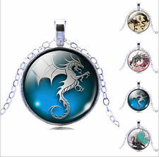 Women's Cabochon Pendant New Glass Necklace Jewelry 2017 Dragon Art Picture