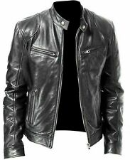 Men Motorbike Black Fire Flame Leather Jacket Movie Jacket Biker Leather Jacket