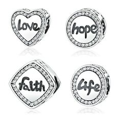 Sterling Silver Charms for Bracelet Engraved with Faith, Love, Hope and Life