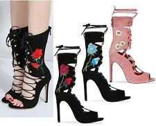 New Ladies Lace Up Stilettos Floral High Heels Gladiator Ankle Boots Shoes Size