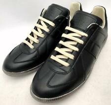 MAISON MARTIN MARGIELA Black Leather Replica Trainers Sneakers RRP470GBP