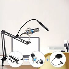 Condenser Microphone Mic Studio Sound Recording & Boom Stand For PC Laptop DT