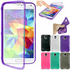 Touch Screen Flip Transparent Frosted TPU Case Cover for Samsung Galaxy S5 G900