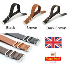 UK First Layer Leather Military Watch Strap Band SS Buckle for Nato Watch, ZULU