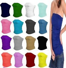 Womens Ladies Boobtube Bandeau Gathered Strapless Side Ruched Crop Bra Vest Top