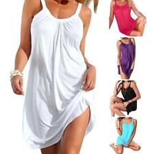Beach Cover-up New Mini Dress Solid Thong Slim Pool Wear Sleeveless Above Knee